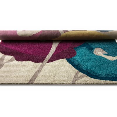 Angie Watercolor Modern Floral Pink/Yellow Area Rug Rug Size: 5'3