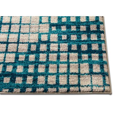 Angie Mid-Century Modern Blue Area Rug Rug Size: 33 x 47