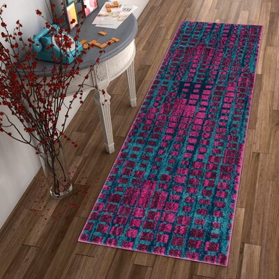 Angie Mid-Century Modern Purple Area Rug Rug Size: 33 x 47