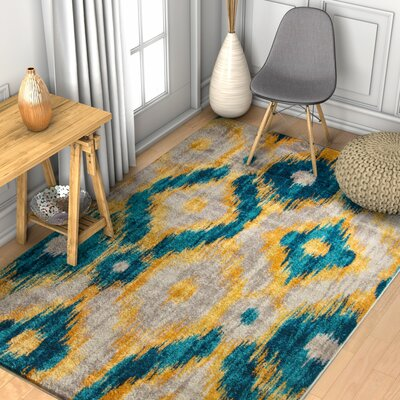 Ceri Modern Distressed Blue Area Rug Rug Size: 33 x 47