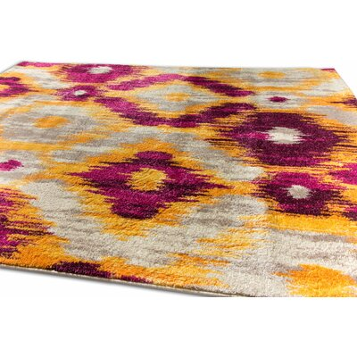 Ceri Modern Distressed Purple Area Rug Rug Size: 53 x 73