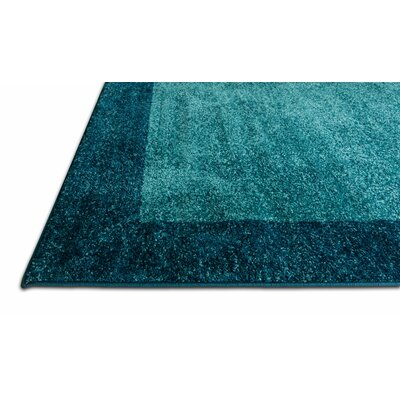 Angie Transitional Ombre Border Distressed Blue Area Rug Rug Size: 53 x 73