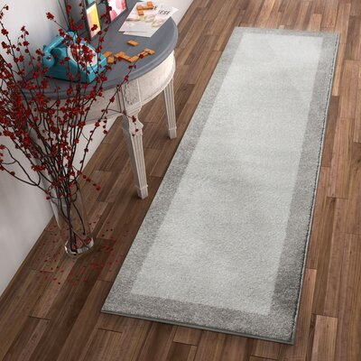 Angie Transitional Ombre Border Distressed Gray Area Rug Rug Size: Runner 23 x 73