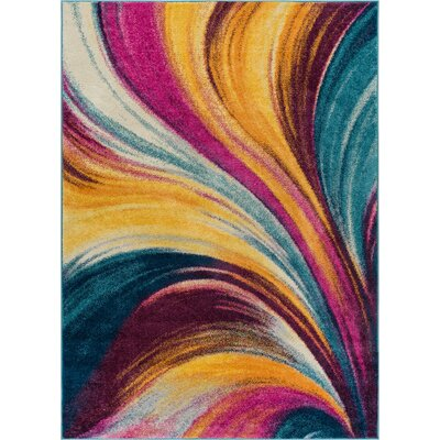 Bunce Modern Abstract Pink/Yellow Area Rug Rug Size: 53 x 73