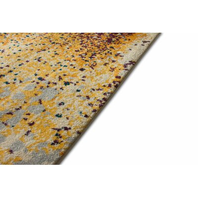 Angie Modern Abstract Paint Splash Yellow Area Rug Rug Size: 53 x 73