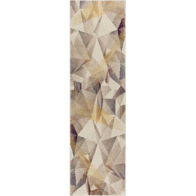 Camren Modern Geometric Prisma Triangle Beige Area Rug Rug Size: 7'10