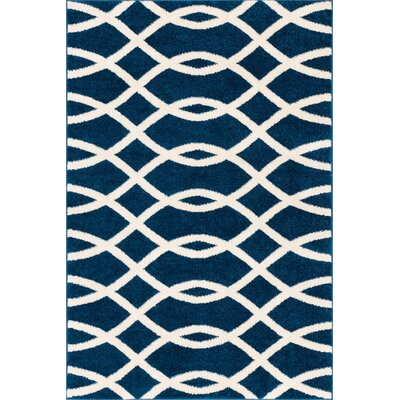 Chrisman Modern Abstract Lines Blue Area Rug Rug Size: Rectangle 33 x 5