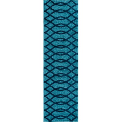 Chrisman Modern Abstract Lines Blue Area Rug Rug Size: Runner 2 x 73