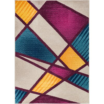 Mystic Broadway Modern Random Lines Geometric Pink/Yellow Area Rug Rug Size: 710 x 910