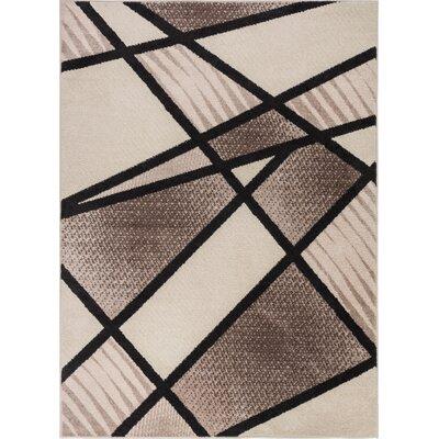 Mystic Broadway Modern Random Lines Geometric Brown Area Rug Rug Size: 710 x 910