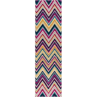 Mystic Soho Modern Chevron Zig Zag Pink/Yellow Area Rug Rug Size: Runner 2 x 73