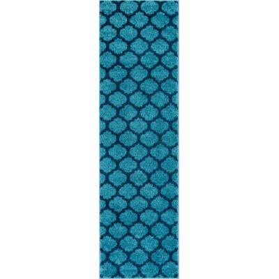 Mystic Zoe Modern Trellis Blue Area Rug Rug Size: Runner 2' x 7'3