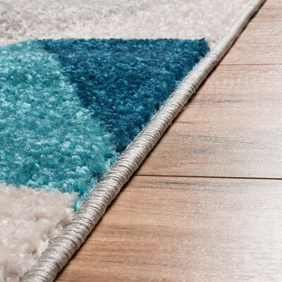 Mystic Alvin Modern Abstract Triangle Geometric Blue Area Rug Rug Size: 2 x 3