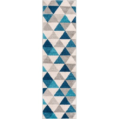 Mystic Alvin Modern Abstract Triangle Geometric Blue Area Rug Rug Size: Runner 2 x 73