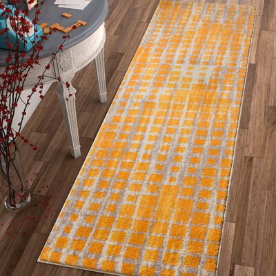 Angie Mid-Century Modern Yellow Area Rug Rug Size: 33 x 47
