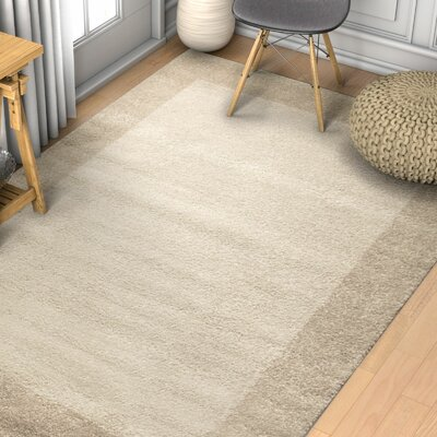 Angie Transitional Ombre Border Distressed Beige Area Rug Rug Size: 53 x 73