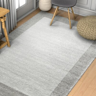 Angie Transitional Ombre Border Distressed Gray Area Rug Rug Size: Rectangle 53 x 73
