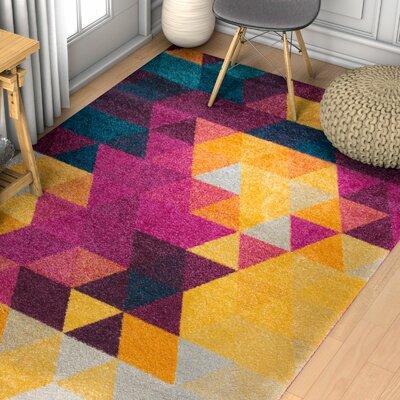 Bunce Mid-Century Modern Geometric Triangle Pink/Yellow Area Rug Rug Size: 53 x 73