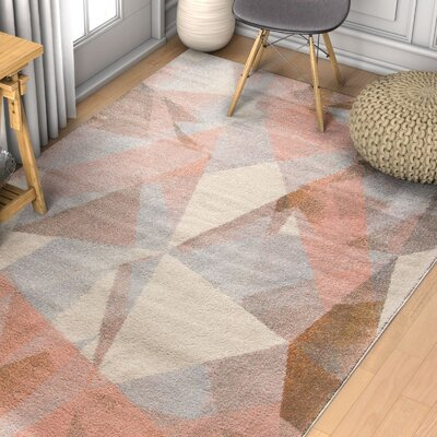 Camren Modern Geometric Prisma Triangle Pink Area Rug Rug Size: Runner 23 x 73