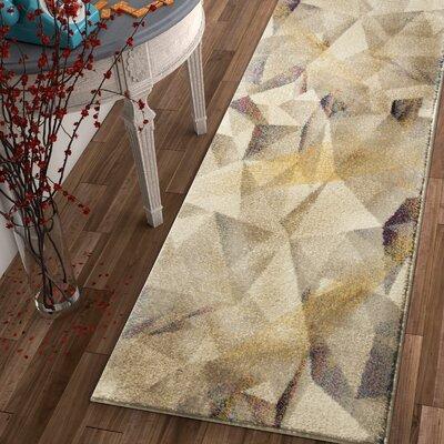 Camren Modern Geometric Prisma Triangle Beige Area Rug Rug Size: Runner 23 x 73