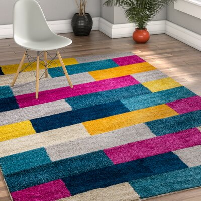Mystic Tribeca Modern Geometric Blocks Pink/Yellow Area Rug Rug Size: 33 x 5