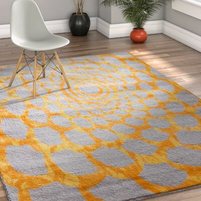 Hythe Gray/Orange Area Rug Rug Size: 5 x 7