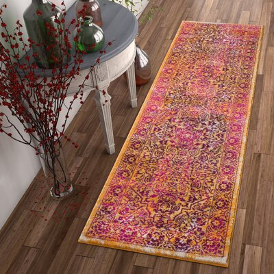 Binstead Modern Distressed Overdyed Power Loom Lavender Area Rug Rug Size: Runner 23 x 73