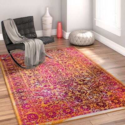 Binstead Modern Distressed Overdyed Power Loom Lavender Area Rug Rug Size: 710 x 910