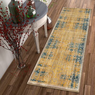 Binstead Traditional Medallion Distressed Power Loom Yellow Area Rug Rug Size: Runner 23 x 73