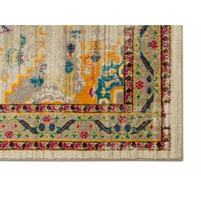 Binstead Traditional Vintage Distressed Power Loom Beige/Yellow Area Rug Rug Size: 710 x 910