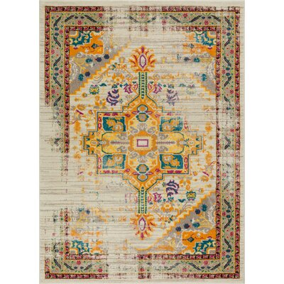 Binstead Traditional Vintage Distressed Power Loom Beige/Yellow Area Rug Rug Size: 53 x 73