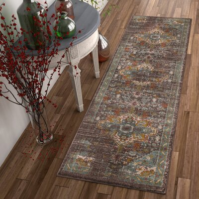 Binstead Traditional Vintage Distressed Oriental Power Loom Brown Area Rug Rug Size: Runner 23 x 73