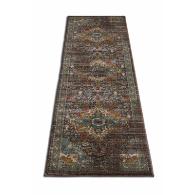 Binstead Traditional Vintage Distressed Oriental Power Loom Brown Area Rug Rug Size: 710 x 910