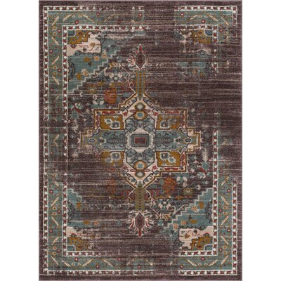 Binstead Traditional Vintage Distressed Oriental Power Loom Brown Area Rug Rug Size: 311 x 57