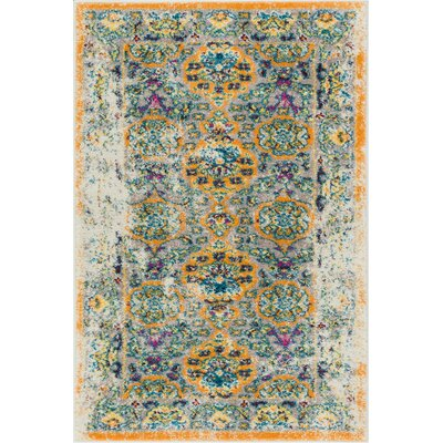 Binstead Traditional Vintage Distressed Power Loom Orange Area Rug Rug Size: 710 x 910