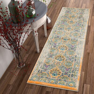 Binstead Traditional Vintage Distressed Power Loom Orange Area Rug Rug Size: Runner 23 x 73