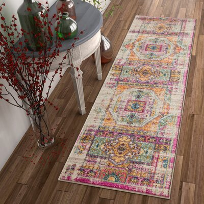 Binstead Traditional Distressed Power Loom Yellow/Pink Area Rug Rug Size: Runner 23 x 73