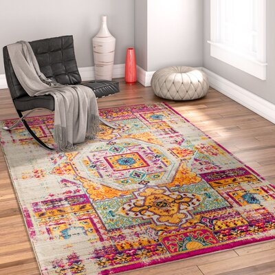 Binstead Traditional Distressed Power Loom Yellow/Pink Area Rug Rug Size: 311 x 57