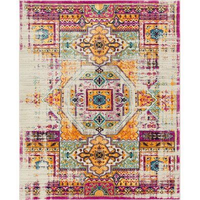 Binstead Traditional Distressed Power Loom Yellow/Pink Area Rug Rug Size: 53 x 73