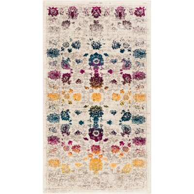 Binstead Modern Boho Oriental Distressed Power Loom Beige/Yellow Area Rug Rug Size: 53 x 73