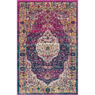 Binstead Traditional Medallion Distressed Purple/Yellow Area Rug Rug Size: 53 x 73