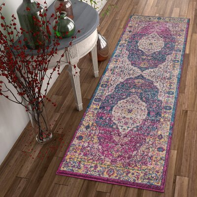 Binstead Traditional Medallion Distressed Purple/Yellow Area Rug Rug Size: Runner 23 x 73