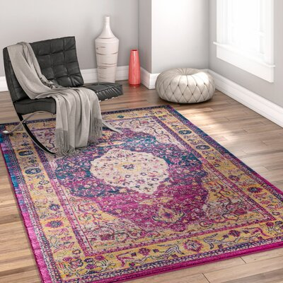 Binstead Traditional Medallion Distressed Purple/Yellow Area Rug Rug Size: 23 x 311