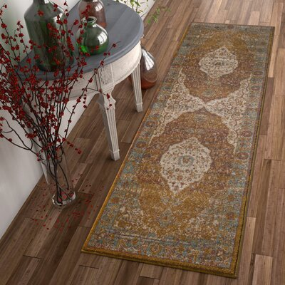 Binstead Traditional Medallion Distressed Power Loom Brown/Orange Area Rug Rug Size: 710 x 910