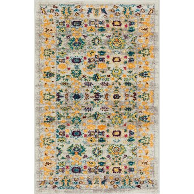 Binstead Modern Vintage Distressed Soft Floral Oriental Power Loom Beige/Yellow Area Rug Rug Size: 311 x 57