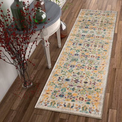 Binstead Modern Vintage Distressed Soft Floral Oriental Power Loom Beige/Yellow Area Rug Rug Size: Runner 23 x 73