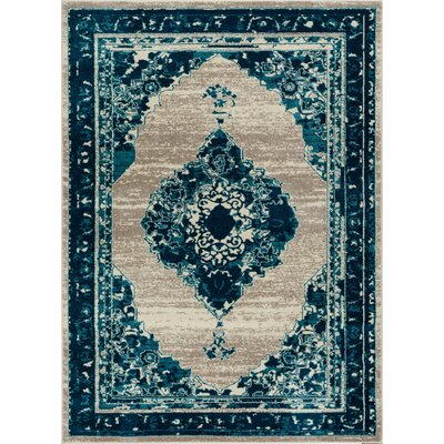 Binstead Modern Distressed Vintage Power Loom Blue Area Rug Rug Size: 710 x 910