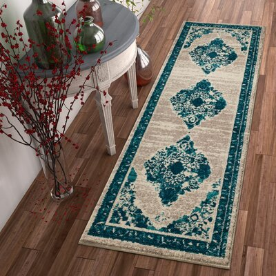 Binstead Modern Distressed Vintage Power Loom Blue Area Rug Rug Size: 23 x 311