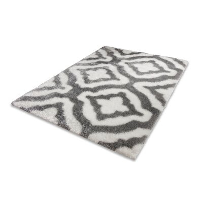 Grieco Feather Modern Trellis Nordic White/Gray Area Rug Rug Size: 710 x 910