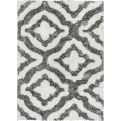 Grieco Feather Modern Trellis Nordic White/Gray Area Rug Rug Size: 3'3
